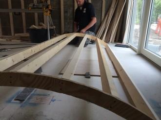 Hout skelet werk geplaatst voor een klant die zelf de gips platen heeft gemonteerd 2